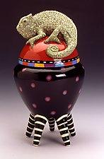 Black and Red Polka Dot Chameleon Jar on Striped Legs by Lisa Scroggins (Ceramic Vessel)