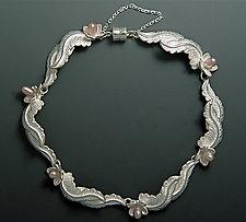 Overlapping Leaf Bracelet by Ellen Vontillius (Silver & Pearl Bracelet)