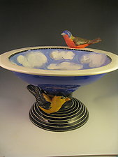 2 Birds in the Sky Bowl by Lisa Scroggins (Ceramic Sculpture)