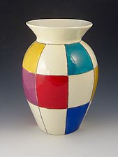 Bold Checks Vase by Lisa Scroggins (Ceramic Vase)