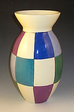 Jewel Tone Checks Vase by Lisa Scroggins (Ceramic Vase)