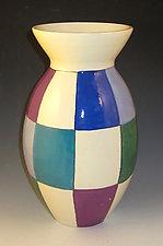 Jewel Tone Checks Vase by Lisa Scroggins (Ceramic Vase)