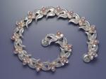 Double Leaf & Bloom Bracelet with Pearls by Ellen Vontillius (Silver Bracelet)