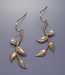 Multi-Leaf Earrings with Pearls by Ellen Vontillius (Gold Earrings)