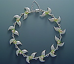 Pointed Leaf Bracelet with Pearls & Peridot by Ellen Vontillius (Silver, Pearl, & Stone Bracelet)