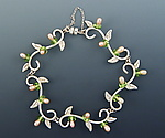Petite Leaf Bracelet with Pearls and Peridot by Ellen Vontillius (Silver, Stone, & Pearl Bracelet)