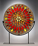 Flame Window Sculpture by Melody Lane (Ceramic Sculpture)