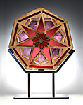 Purple Heptagon Window Sculpture by Melody Lane (Ceramic Sculpture)