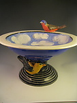 2 Birds in the Sky Bowl by Lisa Scroggins (Ceramic Sculpture)