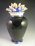 Anenome vase with lid on 4 balls by Lisa Scroggins (Ceramic Vase)
