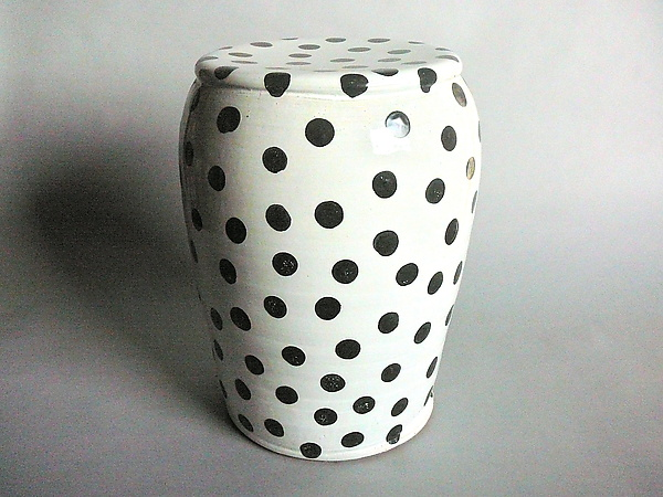 Garden Stool White Glaze And Small Black Polka Dots By Michael