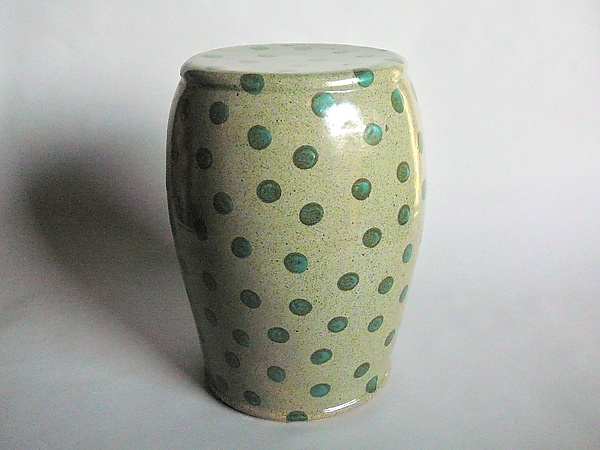 Garden Stool: Celadon Glaze with Small Green Polka Dots
