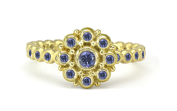 Beady Blossom Ring with Sapphires