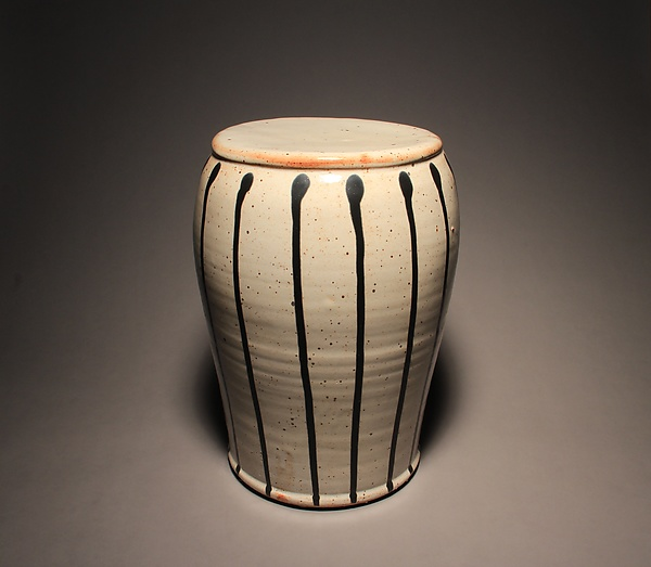 Garden Stool: Pale Shino with Black Stripes