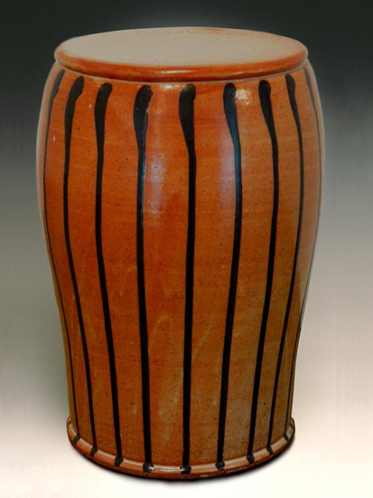 Garden Stool: Shino Glaze with Black Stripes