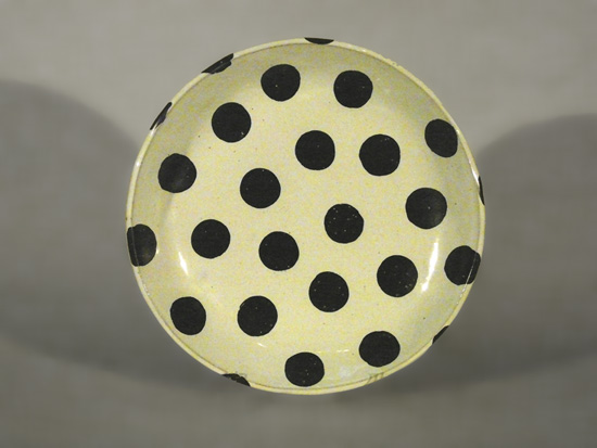 """Large Round Platter: White with Black Polka Dots"""