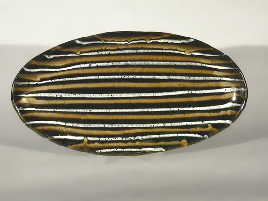 """Large Oval Platter: Black with Gold & White Stripes"""