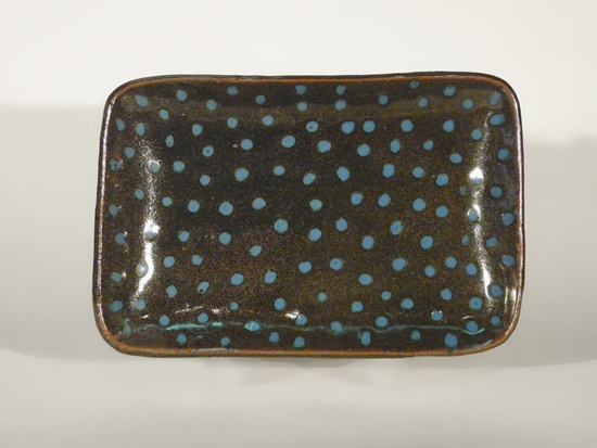 Rectangular Platter: Temmoku with Teal Dots
