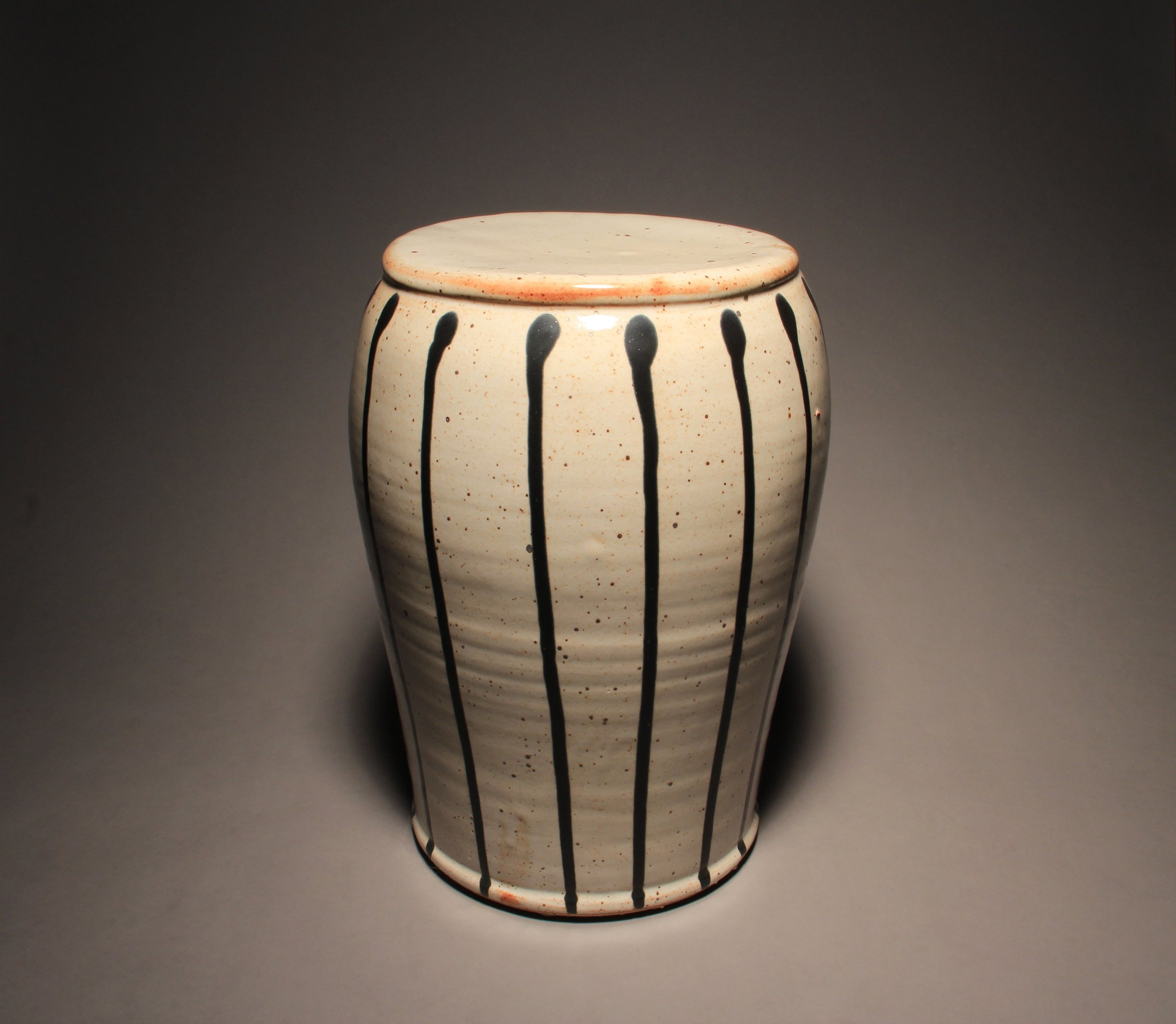 Garden Stool Pale Shino With Black Stripes By Michael