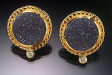 Drusy and Diamond Earrings by Ilene Schwartz (Gold & Stone Earrings)