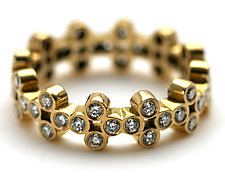 Clover Band with Diamonds by Jessica Fields (Gold & Stone Ring)