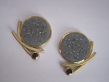 Drusy and Garnet earrings by Ilene Schwartz (Gold & Stone Earrings)