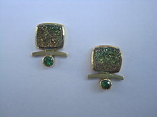 Drusy and Tsavorite Earrings by Ilene Schwartz (Gold & Stone Earrings)