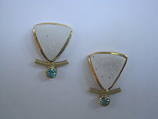 Drusy and Apatite Earrings by Ilene Schwartz (Gold & Stone Earrings)