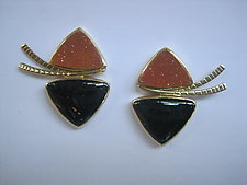 Drusy and Nummenite Earrings by Ilene Schwartz (Gold & Stone Earrings)
