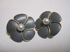 Blossom Earrings #2 by Ilene Schwartz (Gold, Silver & Pearl Earrings)