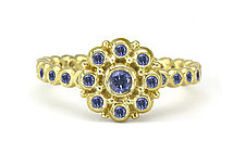 Beady Blossom Ring with Sapphires by Jessica Fields (Gold & Stone Ring)