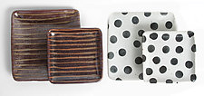 Patterned Stoneware: Sandwich and Entree Plates in Black Dot and Gold Stripe by Michael Jones (Ceramic Plates)