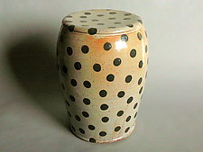 Garden Stool: Shino Glaze and Small Black Polka Dots by Michael Jones (Ceramic Stool)