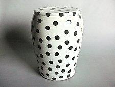 Garden Stool: White Glaze and Small Black Polka Dots by Michael Jones (Ceramic Stool)