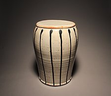 Garden Stool: Pale Shino with Black Stripes by Michael Jones (Ceramic Stool)