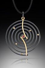 Curved Spiral Pendant by Ilene Schwartz (Gold, Silver, & Stone Necklace)