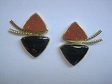 Drusy and Nummenite Earrings by Ilene Schwartz (Gold & Stone Earrings)