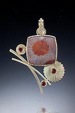 Flower Brooch by Ilene Schwartz (Gold & Stone Brooch)