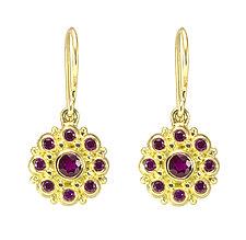 Beady Blossom Dangle Earrings by Jessica Fields (Gold & Stone Earrings)