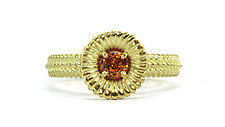 Beady Vine Band with Lily Pad-set Sapphire by Jessica Fields (Gold & Stone Ring)