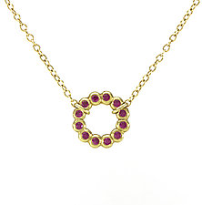 Small Bubble Loop Necklace with Ruby by Jessica Fields (Gold & Stone Necklace)
