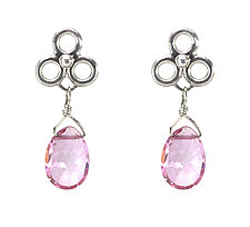 Etruscan Dangle Earrings with Pink Topaz by Jessica Fields (Gold & Stone Earrings)