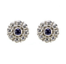 Beady Blossom Stud Earrings by Jessica Fields (Gold & Stone Earrings)