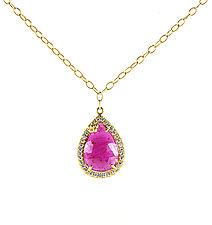 Teardrop Fleurish Necklace by Jessica Fields (Gold & Stone Necklace)