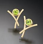 Dancing X Earrings by Ilene Schwartz (Gold & Stone Earrings)