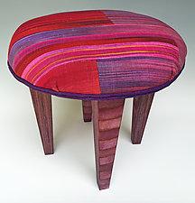 Red Skinny Tuffet by Anne Bossert (Upholstered Ottoman)