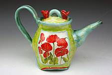 Oval Teapot, Poppies II by Peggy Crago (Ceramic Teapot)