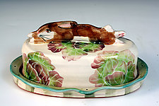 Rabbit Butter Dish with Lettuce by Peggy Crago (Ceramic Butter Dish)