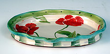 Small Oval Poppy Tray by Peggy Crago (Ceramic Tray)