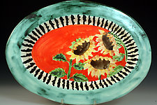 Sunflower Oval Platter by Peggy Crago (Ceramic Platter)